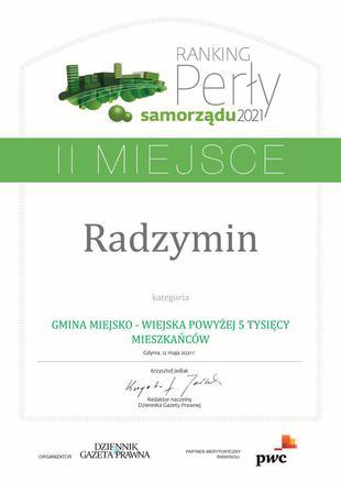 Perły samorządu 2021 II miejsce Radzymin GMINA MIEJSKO - WIEJSKA POWYŻEJ 5 TYSIĘCY MIESZKAŃCÓ....jpeg