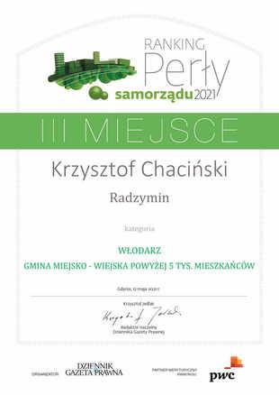 Perły samorządu 2021 III miejsce Krzysztof Chaciński Radzymin WŁODARZ - GMINA MIEJSKO - WIEJS...-1.jpeg